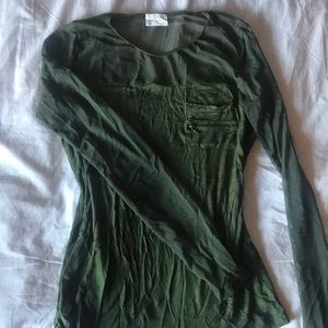 Mesh sleeves olive green top